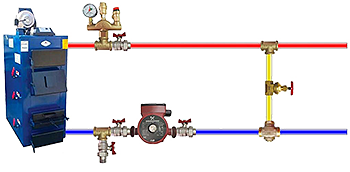 Байпас в отопительной системе с твердотопливным котлом